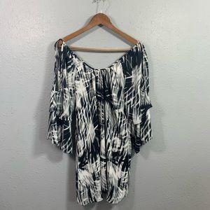 Parker Black White Cold Shoulder Tunic Dress Sz S